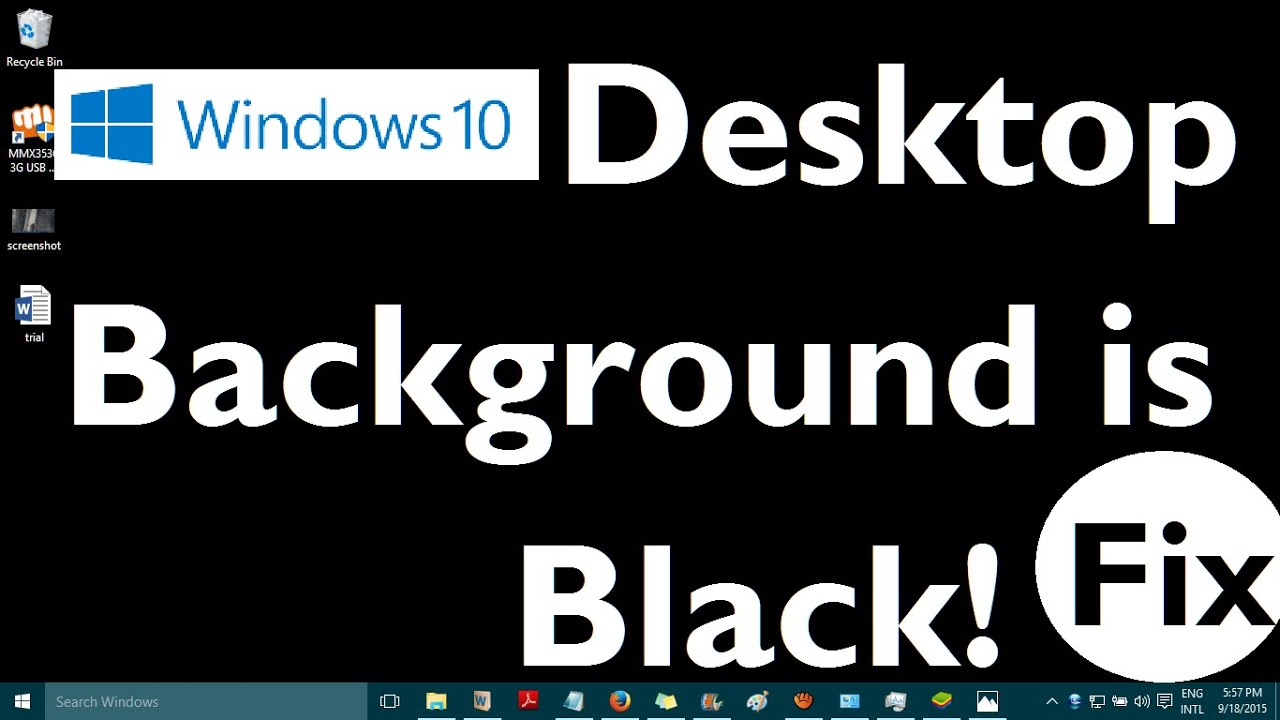 How to fix Black Desktop Background in Window 7