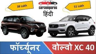 फॉर्च्यूनर Vs वोल्वो XC 40  Toyota Fortuner v/s Volvo XC Hindi Comparison Review Volvo Toyota