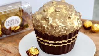 Giant Ferrero Cupcake! Huge Ferrero Rocher Cupcake Recipe | My Cupcake Addiction