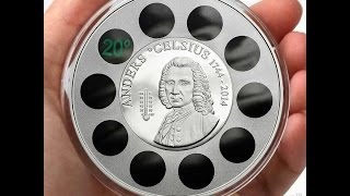 Cook Islands Thermometer Innovative coin Anders Celsius 270th Anniversary $5 Silver 1 oz Proof 2014