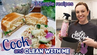 COOK AND CLEAN WITH ME | 3 EASY RECIPES | KITCHEN CLEANING MOTIVATION