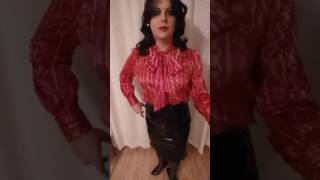 crossdresser lady in elegant satin blouse, pvc pencil skirt, ffs nylons and high heels