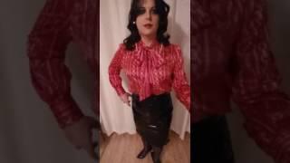 crossdresser lady in elegant satin blouse, pvc pencil skirt, ffs nylons and high heels