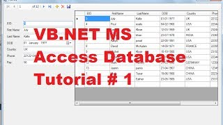 VB.NET MS Access Database Tutorial 1 # How to Connect Access Database to VB.Net
