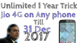 Unlimited 1 Year Data JIO 4g on Any phone/Non-LYF | Till 31 Dec 2017 | Hindi | Tech Machine