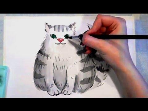 Видео как нарисовать след кошки