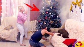 ПОЖАР ГОРИТ ЕЛКА В КВАРТИРЕ ЖЕСТЬ ПРАНК НАД ПАРНЕМ! SMOKING CHRISTMAS TREE PRANK