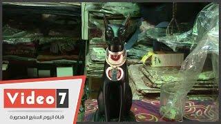 بالفيديو.. شاهد تمثال القط الأسود رمز الحماية عند الملكة «نفرتيتى»