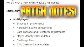 Bo4 1.08 Patch notes