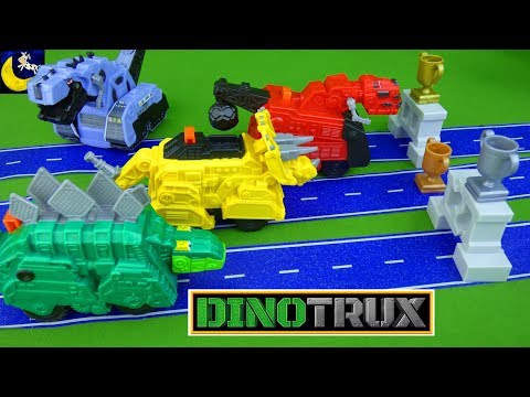 Dinotrux Toys Racing! Power Trux Motorized Ty Garby Dozer & D-Structs Blizzard Pull Back Racers Pack