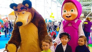 Hello song / Masha and the Bear & other cartoon characters. Indoor playground & funny Vlad playtime