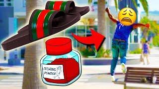 ITCHING GUCCI FLIP FLOPS BAIT PRANK!!
