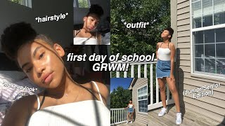 FIRST DAY OF HIGH SCHOOL GRWM 2019! (makeup, hair, outfit)