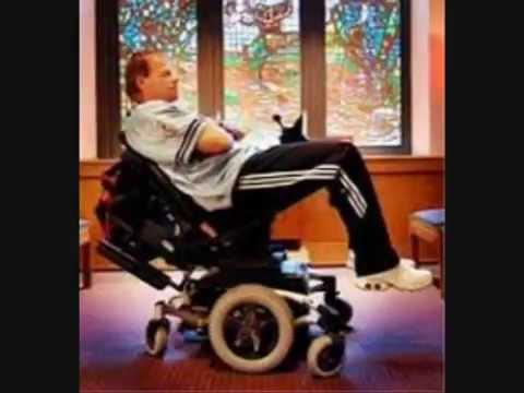 Famous WWF Wrestler Lex luger on wheelchair