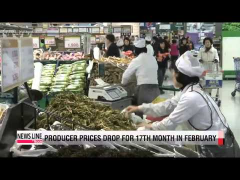 Korea's producer prices drop for 17th month in February