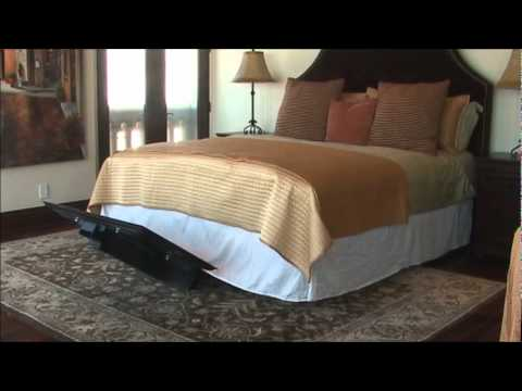 hidden plasma underbed lift hides your flatscreen. Black Bedroom Furniture Sets. Home Design Ideas