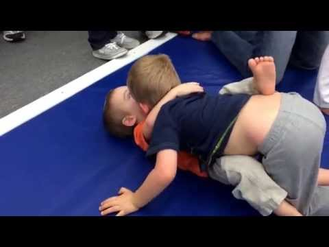 My 2 & 4 year old grappling! Bram get the sweep & Bo works his open guard & looks for the choke! Image 1