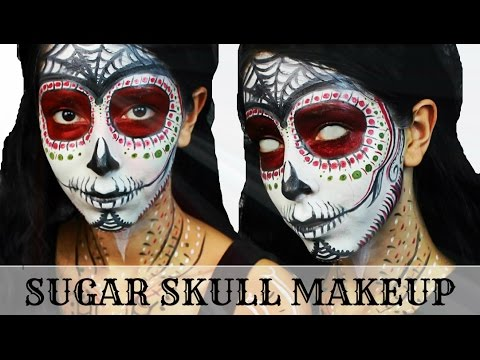 Day of the Dead Sugar Skull Halloween Makeup Tutorial
