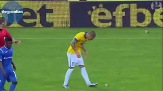 Bulgarian football player swigs beer before scoring last minute equaliser  || Trending on YT