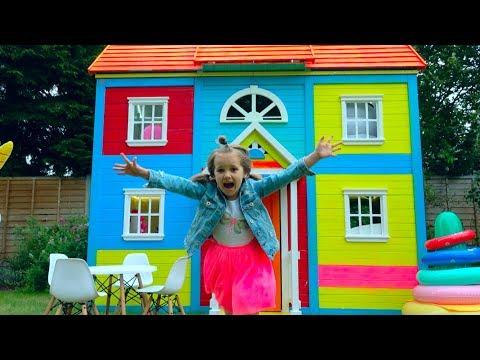 8 000 000 РАЗЫГРАЛИ КАТЮ и ставим мебель в 2 этажный DIY домик для детей  CUPS PRANK for Miss Katy
