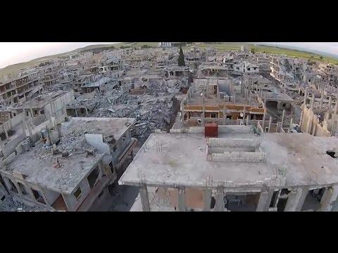 فيديو لطائرة بدون طيار يبيّن قساوة معارك كوباني  6-5-2015