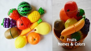 Learn Fruits Names and Colours with toy velcro cutting Fruits