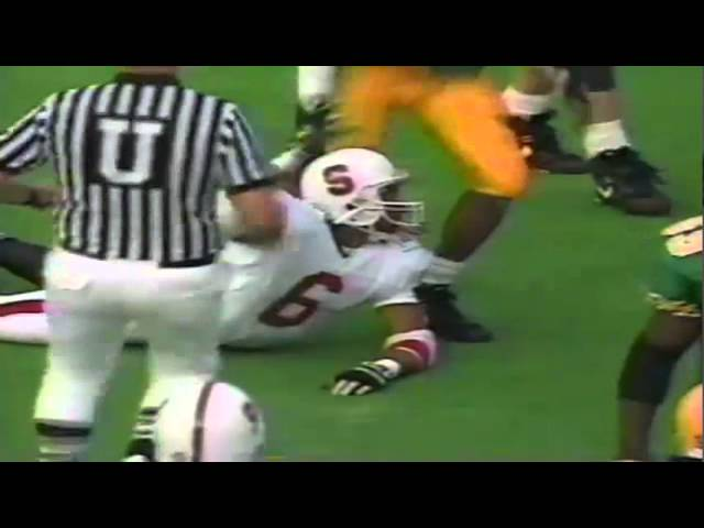 Oregon CB Daryle Smith tackles Stanford WR Jon Pinckney for short gain 11-02-91