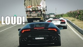 INDIA Highway - Chasing LOUD Lamborghini Aventador & Huracan