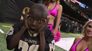 Saints Superfan steals the show on the sideline