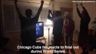 Watch Chicago Cubs fan reacts to final out during World Series