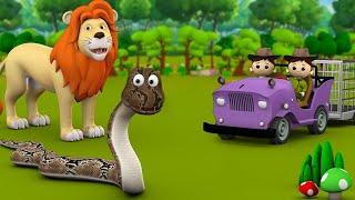 Black Cobra and Lion King 3D Kids Hindi Moral Stories काला नाग और राजा शेर हिन्दी कहानी Fairy Tales