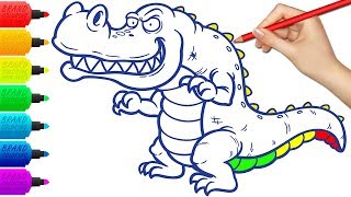 Crocodile Coloring Book Page  Drawing Animals for Kids