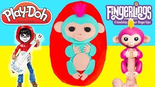 GIANT FINGERLINGS PLAY DOH SURPRISE EGG OPENING with Monkey Mia, Bella, Coco and LOL Surprise Toys