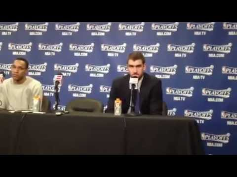 Evan Turner and Spencer Hawes after Sixers Game 3 home victory vs Chicago (5/4/12)