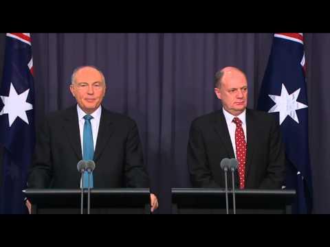 DPM Warren Truss/ATSB Martin Dolan - MH370 tender announcement 06/08/14 Part 1