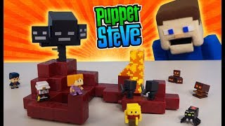 Minecraft NETHER Biome Mini Figures Playset SERIES 3 Collection WITHER Unboxing Puppet Steve