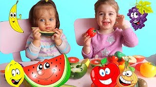 Learn Names of Fruits and Vegetables with Funny Babies Tasting Real Food Educational Video for Kids