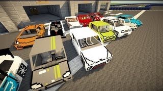 """Minecraft Flans mod - Too many cars!  """"Poker's garage content pack"""" (1.4.7)"""