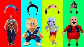 Wrong Hairs Motu Patlu Bahubali Ninja Hattori in Hindi Little Krishna Finger Family Song