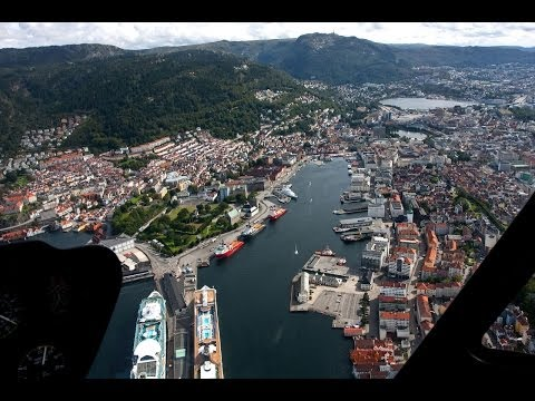 Bergen Chopper Tour - spectacular aerial views of Bergen, Norway in HD 1080p klip izle