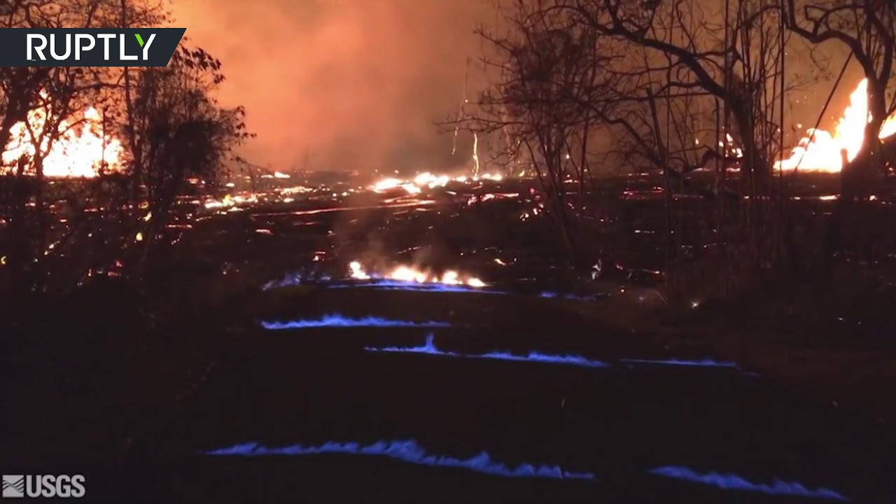 Hawaii burns blue as methane gas from Kilauea volcano ignites