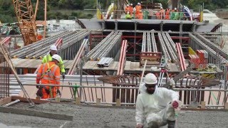 Bridge construction timelapse with girder installation on Medway Valley
