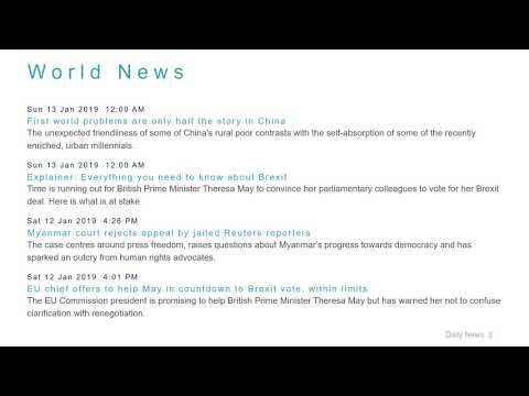 World News Headlines for 13 Jan 2019 - 8 AM Edition