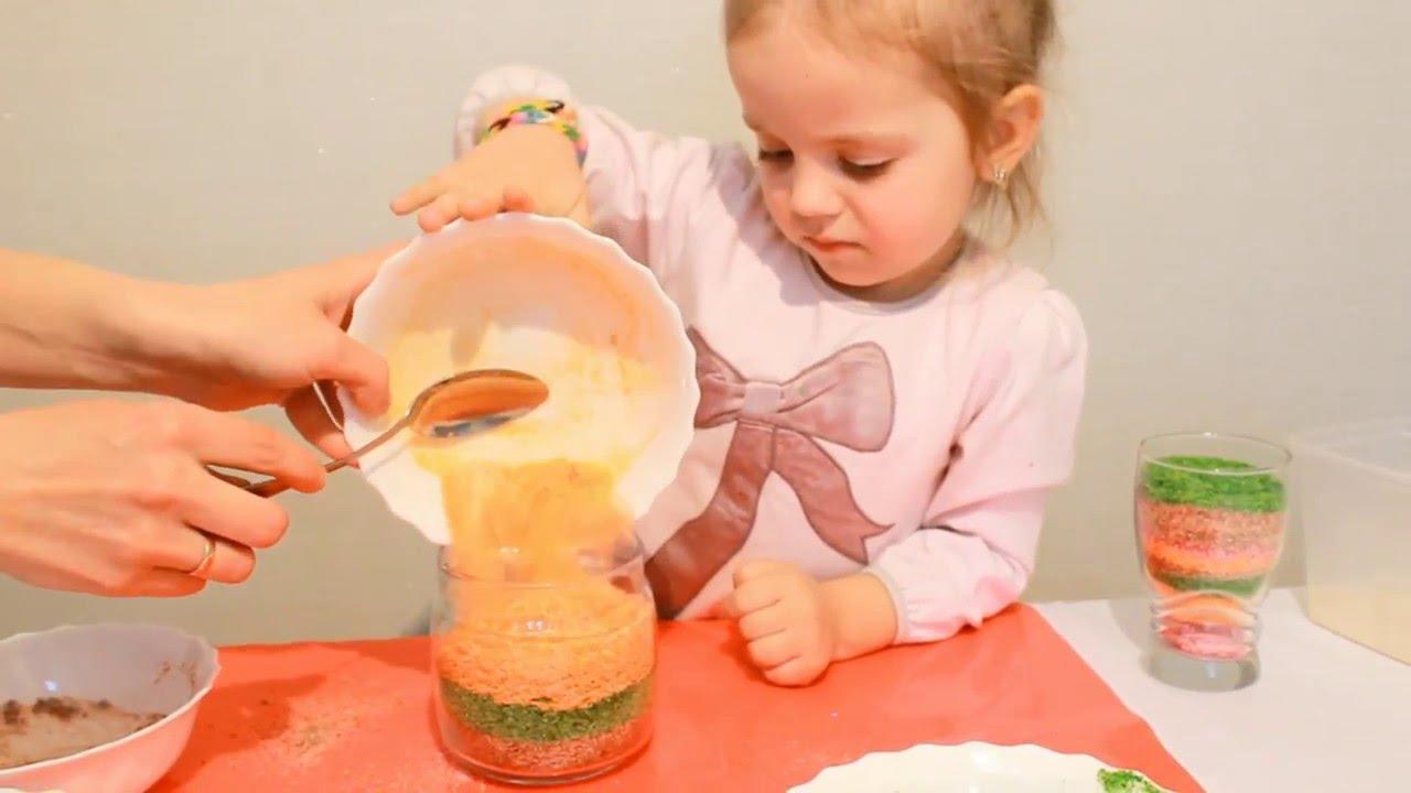 Как сделать цветной песок из манки своими руками 45