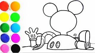 Cómo Dibujar y Colorear Casa de Mickey Mouse - Dibujos Para Niños - Learn Colors / FunKeep