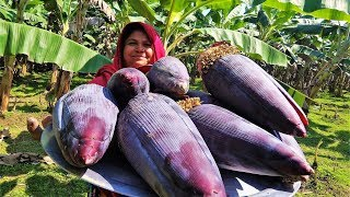 Giant BANANA FLOWER!!! How To Collect,Cut,Clean & Cook Banana Blossom   Banana Mocha Fry For Kids
