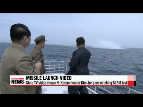 Video shows Kim Jong-un watching submarine-launched missile test   북한. ′미국 영상 도용