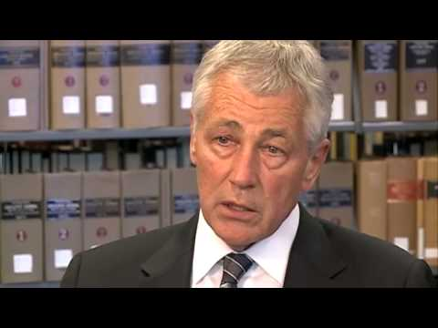 Secretary of Defense Hagel talks with KETV