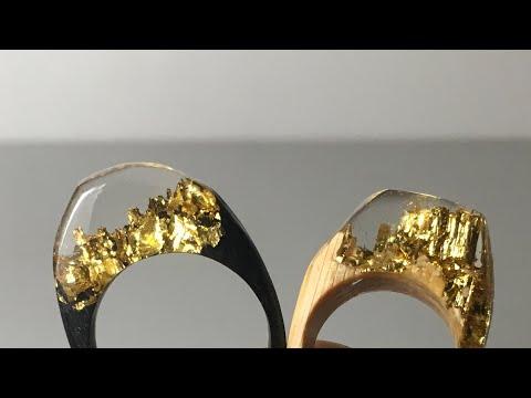 木とレジンの指輪 金色 How to make resin epoxy golden ring