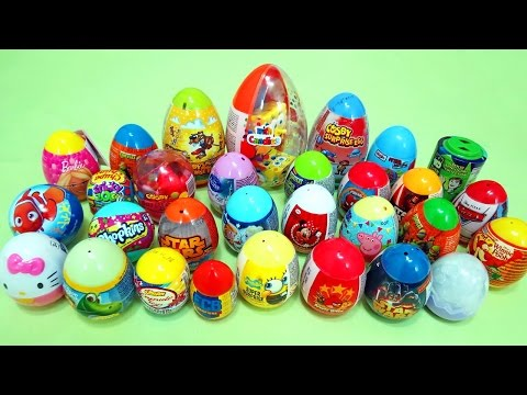 30 SURPRISE EGGS! Disney Toy Story HELLO KITTY Peppa Pig SPIDER MAN Star Wars Sponge Bob MAISTO CARS